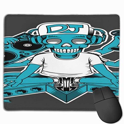 Muismat, muismat, bureau-muismat, Rap DJ schedelkop en vele handen die een CD-radio en een microfoon charcoal houden, grijs blauw en wit