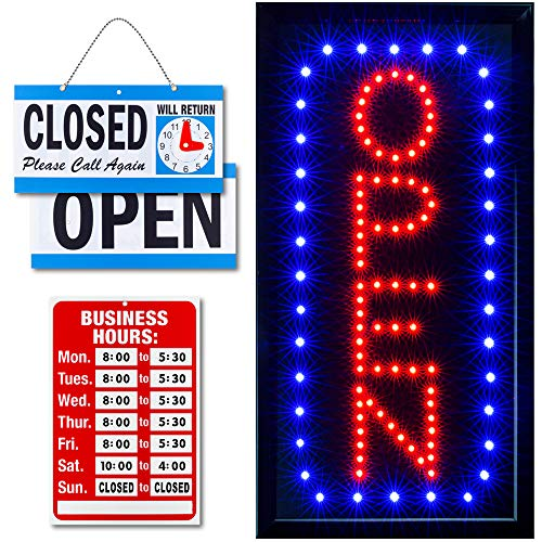 Ultima LED Neon Open Sign for Business: Vertical Lighted Sign Open with Flashing Mode – Indoor Electric Light up Sign for Stores (19 x 10 in) Includes Business Hours and Open & Closed Signs