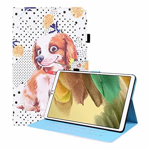 Hülle kompatibel mit Samsung Galaxy Tab A7 10.4 inch 2020, SM-T500/T505/T507 - Kunstleder Slim Cover Lightweight Schutzhülle Tasche mit Standfunktion und Auto Schlaf/Wach Funktion, Kleiner Blumenhund