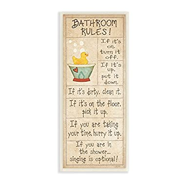 Stupell Home Décor Bathroom Rules Rubber Ducky Tall Bathroom Wall Plaque, 7 x 0.5 x 17, Proudly Made in USA