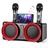 SEAAN Sistema de Karaoke Bluetooth, Sistema de Altavoces PA Bluetooth con 2 Micrófonos Inalámbricos, Altavoz de Sonido HD Portátil para Fiestas, Reuniones, Bodas, Hogar y Exteriores
