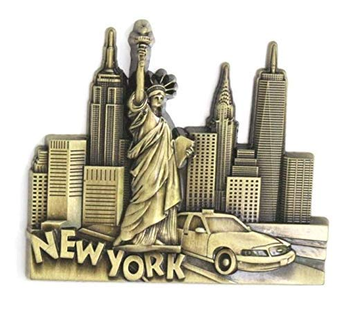 Kühlschrankmagnet mit Städtemotiv, z.B. Venedig, Paris, Rom, Prag, Amsterdam, Barcelona, Dubai, Thailand, aus Metall, tolles Souvenir, schöner Dekoartikel, metall, Messing New York