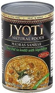 Jyoti Natural Foods Madras Sambar, Yellow Lentils with Vegetables, Vegetarian, 425 Gram Cans (Pack of 12) (Value Bulk Multi-Pack)