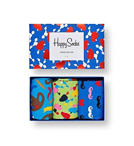 Happy Socks farbenfrohe und verspielte French Edition Sock Box Geschenkboxen für Männer und Frauen, Premium-Baumwollsocken, 3 Paare, Größe 41-46.