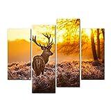 Impresión de lienzo de pared con imagen ciervos en bosque otoñal puesta de sol animales vida fauna 4 piezas cuadros estirados y enmarcados ficas Giclé