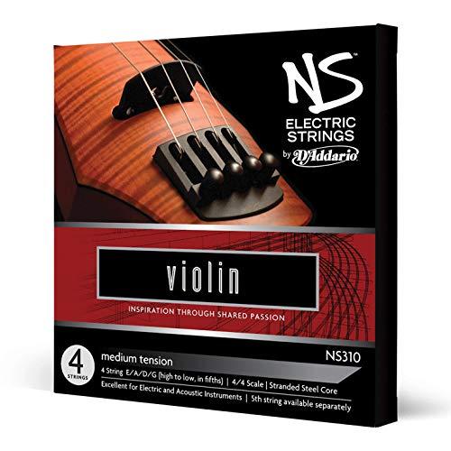 Juego de cuerdas para violín eléctrico NS de D'Addario, escala 4/4, tensión media.