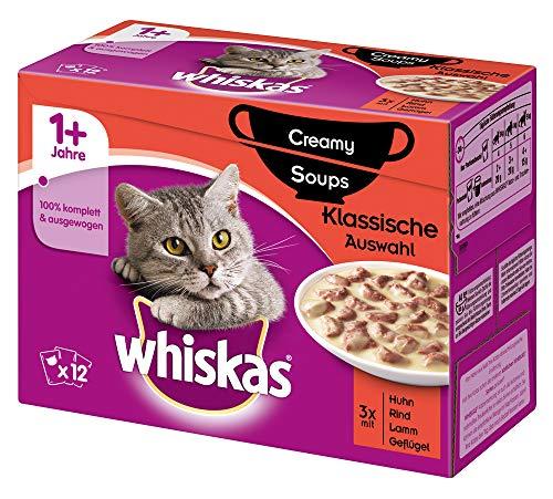 Whiskas 1 + Creamy Soups Katzenfutter – Hochwertiges Nassfutter für gesundes Fell – Feuchtfutter in verschiedenen Geschmacksrichtungen, 4erPack (4 x 12 x 85g)