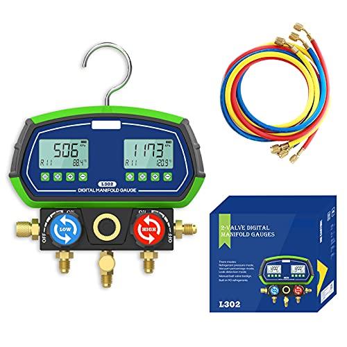 MR CARTOOL L302 HVAC Digital Manifold Gauge Set, High-Precision R12 R134A R410A etc. Vacuum Pressure Temperature Leakage with 3 Hoses for Testing Maintaining Air-Conditioner, Refrigerator