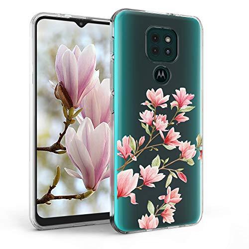 kwmobile Hülle kompatibel mit Motorola Moto G9 Play/Moto E7 Plus - Hülle Handy - Handyhülle - Magnolien Rosa Weiß Transparent