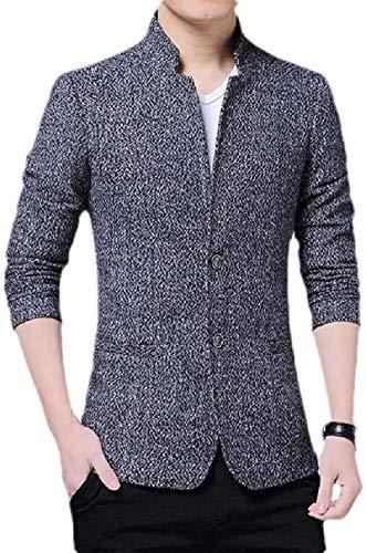 Avis N Men Stand Collar Slim Fit Long Sleeve Dinner Solid Color Blazer Jacket Sport Coat