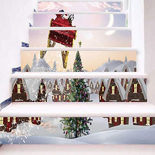 Weihnachten 3D Simulation Treppenaufkleber Tapeten Wasserdichte Wandaufkleber Diy Wohnkultur Schneemann Treppen Bodenaufkleber 100 Cm X 18 Cm