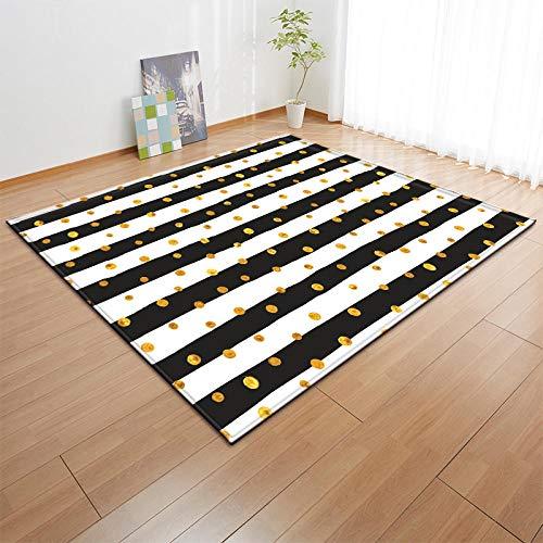 YQZS Home Designer Tapijt voor Woonkamer Interieur Decoratie Tapijt Zwart en wit gestreepte gouden cirkel salontafel slaapkamer tapijt huis grote tapijt mat 120X160(47X63inch)