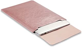 Soyan Leather Laptop Sleeve for New 16-Inch MacBook Pro 2019 and 15-Inch MacBook Pro 2013-2019, Fits Model A2141/A1990/A1707/A1398 (Rose Gold)