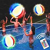 Pool Toys 18' Glow in Dark LED Beach Ball Toy, 16 Color Changing Floating Pool Lights for Pool Beach Glow Party, Outdoor Games for Teens Adults Family (1PC)