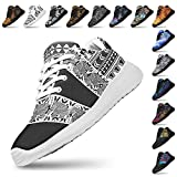 Artful Vibes Womans Lightweight Athletic Fashion Sneaker Jogging Running Sports Shoes Elephant Aztec Black White Sole