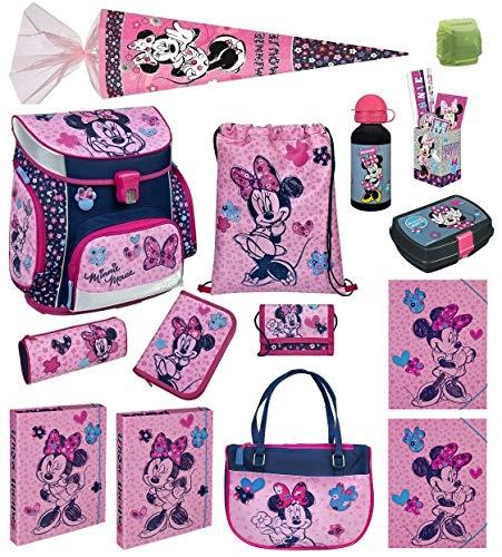 Familando Scooli Schulranzen-Set Disney Minnie Maus 21-TLG. mit Brotzeit-Dose, Trink-Flasche, Sport- / Hand-Tasche, Schultüte 85cm und Regenschutz