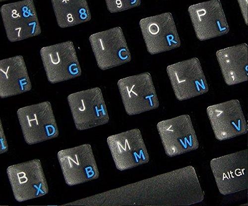 Qwerty Keys Dvorak transparente Tastaturaufkleber mit Blauen Buchstaben - Geeignet für Jede Tastatur