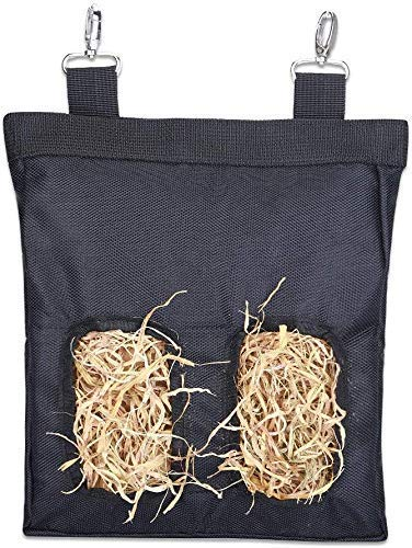 Rabbit Hay Feeder Bag,Guinea Pig Hay Bag, Long Wear Feeder Bag Black, Rabbit Hay Bag, Hay Bag Hanging Feeding Device Supply Rabbit, Toy Wear Bag Pet Essential Storage - Small with 2 Holes