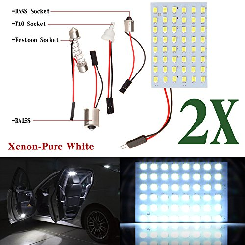 cciyu Car White LED 48SMD Panel Interior Dome Map Light Bulb Lamp + T10 BA9S BA15S Festoon Adapter (2pack)