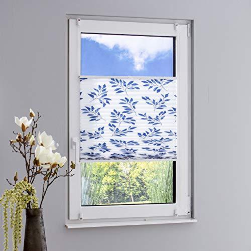 DECOLIA Klemmfix-Plissee verspannt, ohne Bohren oder Schrauben mit Druckdesign Blattzweig, Breite/Höhe: 75 x 130 cm, Farbe: blau