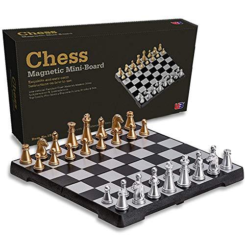 UIGJIOG Juego de ajedrez magnético Plegable del Viaje del Tablero de ajedrez, Juguetes educativos del Juguete Educativo del Tablero de ajedrez