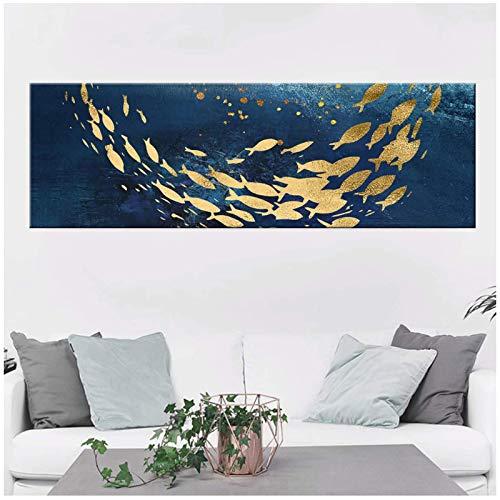 QWEAASD póster Cuadro sobre Lienzo para Pared, decoración del hogar, Imagen de pez Dorado de Dibujos Animados, póster Impreso Moderno -50x150cmx1 sin Marco