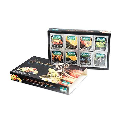 Dilmah Fun Teas Collection - Té negro - 80 bolsitas de té - 160 g netos (5,64 oz) - Menta, limón, melocotón, mango y fresa, caramelo, pera y naranja, arándano y vainilla y grosella negra
