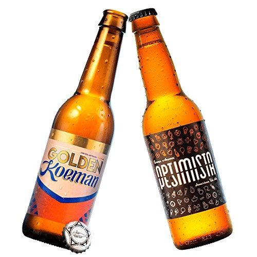 Cerveza artesanal La Lenta (6 botellas de 33 cl: 3 Optimista/Pesimista + 3 Golden Koeman)