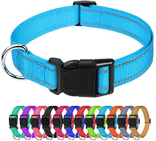 TagME Collar Perro Ajustable,Collar Nylon Reflectante,para Caminar Correr Entrenamiento,para Perros Pequeños,Cielo Azul,1.5cm De Ancho