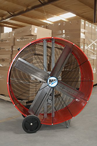 MAXXAIR RED BF42BDRED BF42BD High Velocity 2-Speed Belt Drive Drum, Heavy Duty Potable Barrel Fan, 42-Inches, 10,000 CFM
