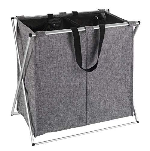 WENKO Panier à linge Duo gris chiné - Corbeille à linge Capacité: 120 l, Polyester, 59 x 57 x 38 cm, Gris