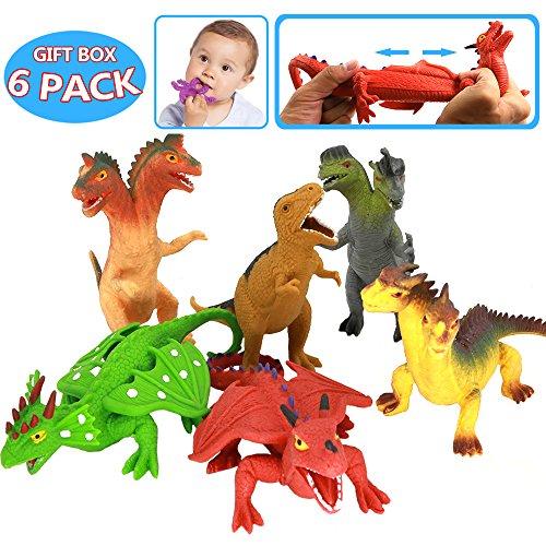 Jouet dinosaure 8 Pouces (8 sacs) , Caoutchouc Alimentaire de Qualité Médicale étirable, avec Boîte Cadeau et Carte de Ressources Apprentissage, Monde Animal Dinosaure Garçons enfant Souvenirs Fête