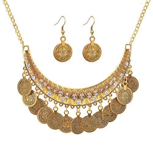 MIXIA Dancing Gypsy Jewelry Ethnic Coin Bib Necklace Drop Earring 2 Pcs Jewelry Set Women Exotic Bohemian Accessories (Antique Gold)