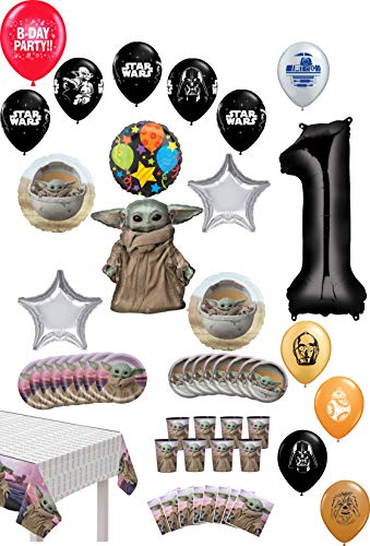 Great Price! Star Wars Baby Yoda 1st Birthday Party Supplies 8 Guest Mandalorian Child Table Decorations and Balloon Bouquet
