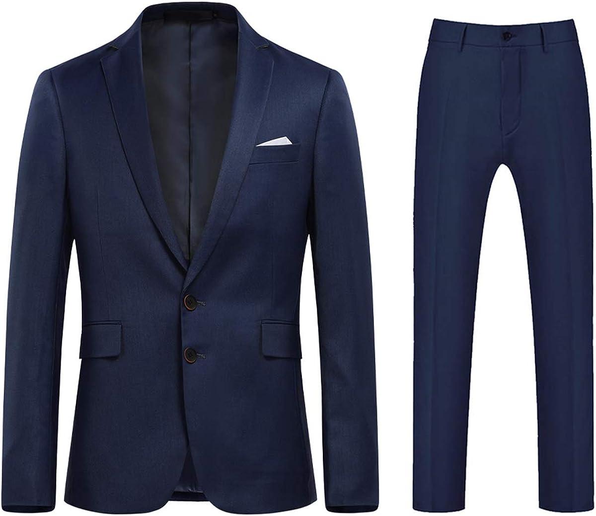 Mens Formal Suit Set 2 Piece Slim Fit Wedding Party Tux Dress Notched Lapel Suits