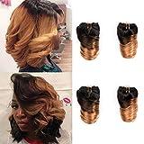 8 Inch Brazilian Loose Wave Hair 4 Bundles 50g/bundles #T1B/27 Honey Blonde Ombre Two Tone Color 100% Unprocessed Human Virgin Hair Weave For Bob Hairstyles Quick Weave (8inch,4pcs,#T27)