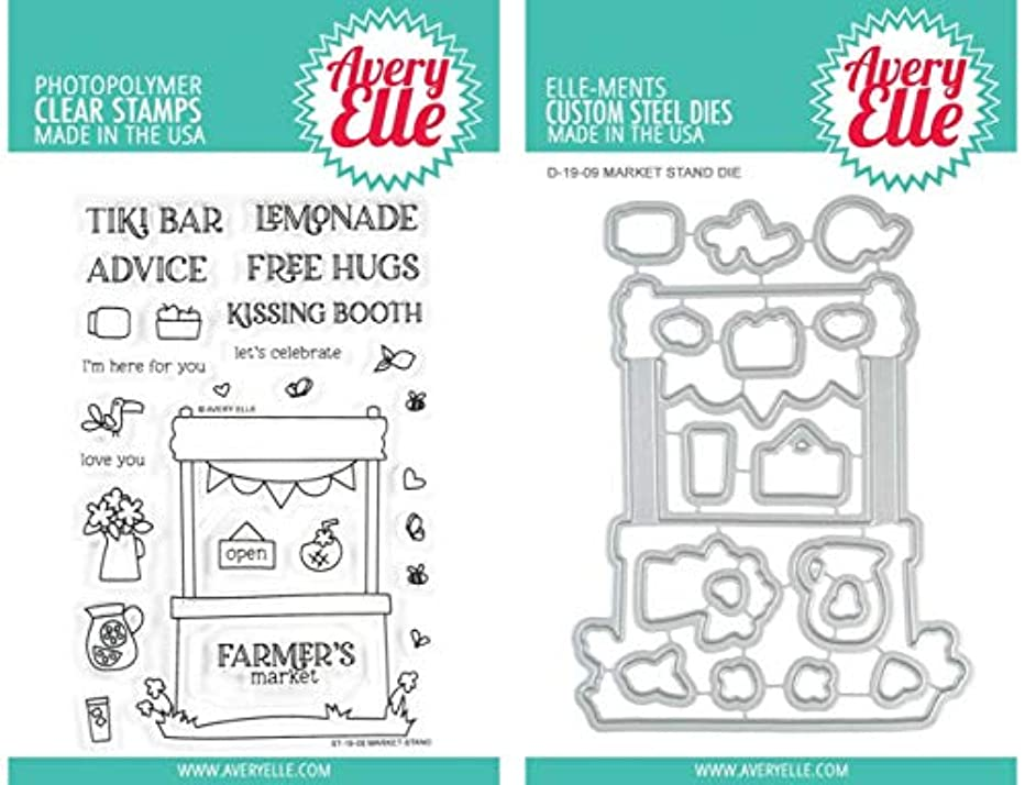Avery Elle - Market Stand - Clear Stamps and Elle-Ments Dies - 2 Item Set