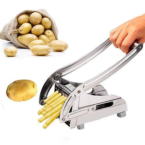 Stainless Steel Home French Fry Cutter Maker Vegetable Slicer Chopper Machine Potato Chipper, Silver (US STOCK)