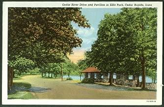 Cedar River Drive & Pavilion Ellis Park Cedar Rapids IA postcard 1945