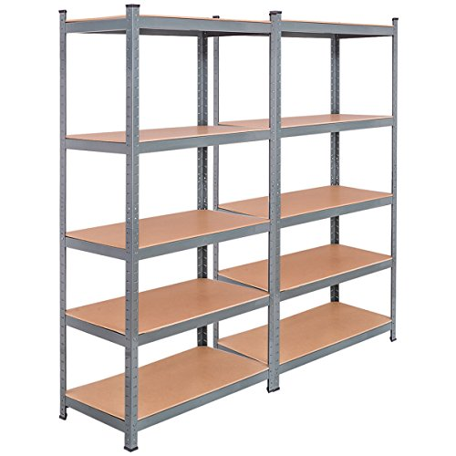 TANGKULA 5-Tier Storage Shelves Space-Saving Storage Rack Heavy Duty Steel Frame Organizer High Weight Capacity Multi-Use Shelving Unit for Home Office Dormitory Garage with Adjustable Shelves (2 PCS)