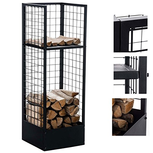 CLP Metall-Kaminholzständer Forrest | Kaminholzhalter aus Metall in schwarz | Stabile Stapelhilfe für Brennholz Schwarz