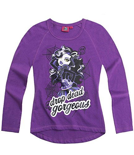 Monster High - Camiseta de manga larga para niña, color morado