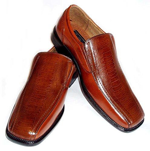 Delli Aldo Mens Leather Dress Shoes Loafers Comfort Slip ON Ostrich Crocodile Print 18230 / Brown (7.5)