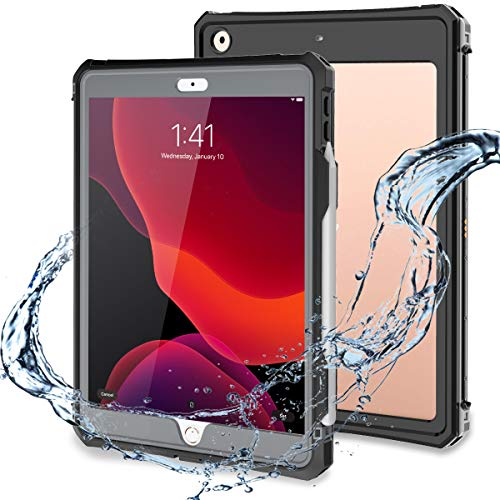 iPad 10.2 Case, iPad 7th / iPad 8 Waterproof Case Built in Screen Protector Full Body Protection 10.2 8th Cover with Pencil Holder Anti-Scratch Shockproof Cases for iPad 10.2 inch 2020 (Black)