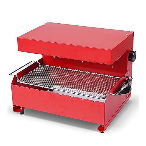 Elektrogrill, BBQ Grill, rauchlosen Grill, 1000W, Abnehmbarer und leicht zu reinigender Antihaftfach, 360 ° automatisches rotierendes Grill-Weiß (Color : Rot)