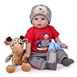 Reborn Baby Dolls 22 inch Silicone Realistic Baby Boy Doll Lifelike Weighted with Giraffe Gift Set Accessories