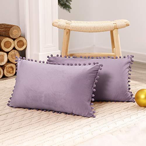 Deconovo Fundas de Cojines Almohadas Terciopelo Suave Decorativa Hogar con Pelota para Sofás Dormitorio Pack de 2 30 x 50 cm Morado Claro