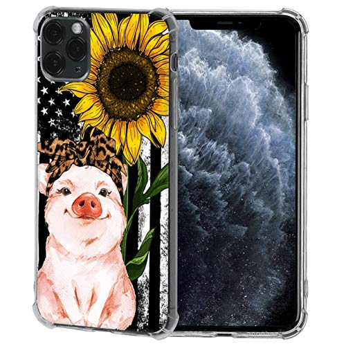 iPhone 11 Pro Max Case,American Flag Sunflower Leopard Headband Pig Case for iPhone 11 Pro Max Soft Slim Sillicone TPU Scratch-Resistant Protective Cover Case Compatible with iPhone 11 Pro Max(6.5')