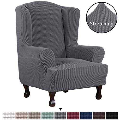 H.VERSAILTEX, 1 Piece Stylish Furniture Super Stretch Cover Wingback Chair Spandex Jacquard Cover Slipcover Checked Pattern, Slipcover Machine Wash, Skid Resistance, Super Soft, Skid Resistance Gray