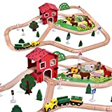FUN LITTLE TOYS Wooden Farm & Tractor Play Set 77 Pieces